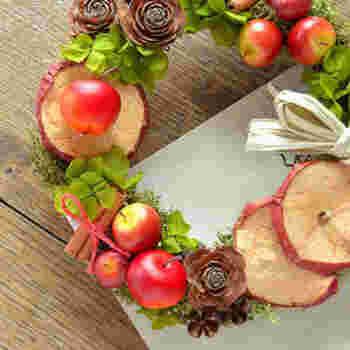 リースにフルーツを取り入れるとボリュームが出て豪華に仕上がります。真っ赤なリンゴを使えばクリスマスらしく、ドライのオレンジなどは、アンティークな雰囲気に仕上がります。