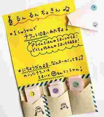画像/筆者宅の「るんるん貯金」の写真。イラスト入りポケットが子供のチケット入れ。消費・獲得の際は無地ポケットを使用。
