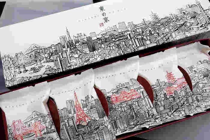 奈良 天平庵の「東の京」。東京駅限定デザインで、レインボーブリッジや東京タワーなど、人気の観光名所がデザインされていておしゃれですよね。