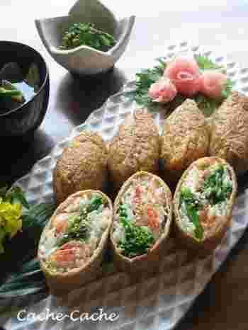 春の野菜・菜の花と、優しい色合いの桜えびをいなり寿司に。寿司飯に、柚子果汁と柚子胡椒を使った爽やかな風味♪黒糖を使ってこっくりと煮たお揚げもいい味を出しています。