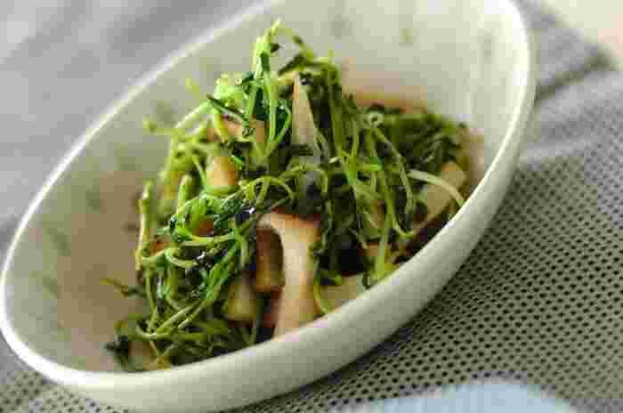 シャキシャキ感を残して炒めた豆苗と、歯ごたえがあり旨味の濃いエリンギの炒めもの。中華だしと塩・黒胡椒でさっぱり味に仕上げます。