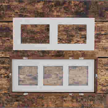こちらにはましかく写真3枚、またはL版写真を2枚を並べることができる台紙が付属。 金具も4つついているので、縦でも横でも飾ることができるように。