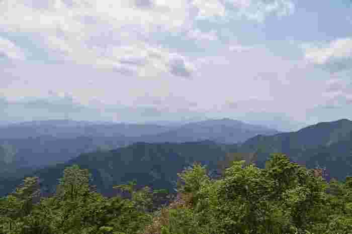 連なる山の稜線がグラデーションを描きます。自然豊かな眺めに、ここが東京だと信じられないほど。