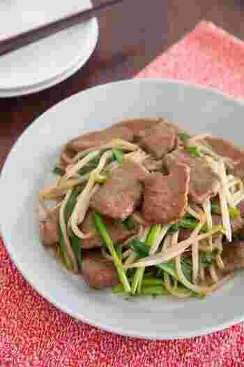 レバーの代わりに牛もも肉を使った炒め物です。牛もも肉は低カロリーで高タンパクなので、ダイエットの頼もしい味方!レバーが苦手な方にもおすすめのレシピです。