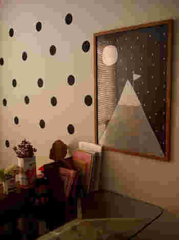 白い壁にドット柄に貼っていくとたちまちキュートな壁の出来上がりです。