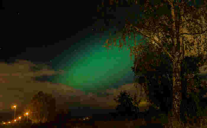 こちらはストックホルム市内から見えたオーロラです。