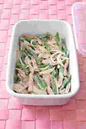 デパ地下お惣菜のようなお洒落感があるサラダです。いんげんと玉ねぎをたっぷりと食べられる上、作り置きしておけるのでとても重宝するレシピです。ワインにも合いますよ。