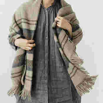 ゴットランド・ウールと呼ばれるスウェーデンの希少種の羊毛を使用したブランケットは、暖かくふんわりとした質感が特徴です。シックなダナヤ柄で男女を問わず使えそう。