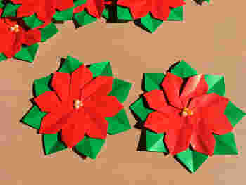 クリスマス前になると、お花屋さんにたくさん飾られているポインセチアを折り紙で作ってみましょう。色が綺麗なので、お部屋の飾りつけにも◎です。