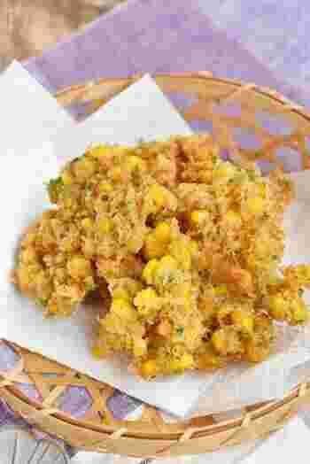 風味豊かな青海苔とまろやかなチーズの味わい。サクサクの衣に包まれた甘いとうもろこしは、お酒のおつまみやおやつにぴったりです。