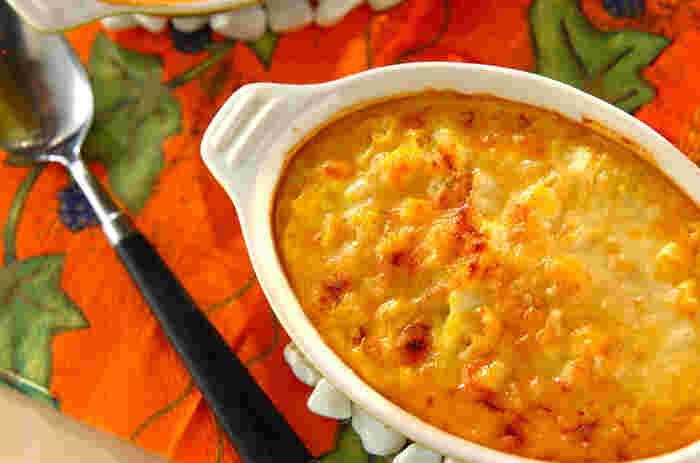 カットして使うかぼちゃのグラタンもホクホクしておいしいですが、こちらのペースト状にしたかぼちゃで作るグラタンも、なめらかで舌触りがよく、白菜とチーズとの組み合わせも絶妙で、何度もリピしたくなりそう。