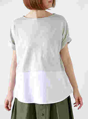 これからの季節に欠かせないTシャツ。シンプルなデザインでも、裾の切り替えが着こなしの洗練度をググっと底上げしてくれます。