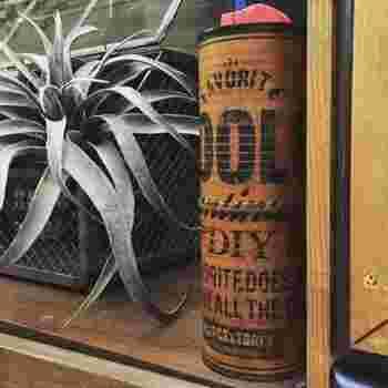 殺虫剤などのスプレーは、商業的なパッケージでインテリアから浮いてしまいがち…。そんなときは、空き缶を2つ使って作るリメイク缶で目隠ししましょう。スプレーを塗装するだけでなく、ラベルを貼るとぐっとおしゃれに仕上がります。