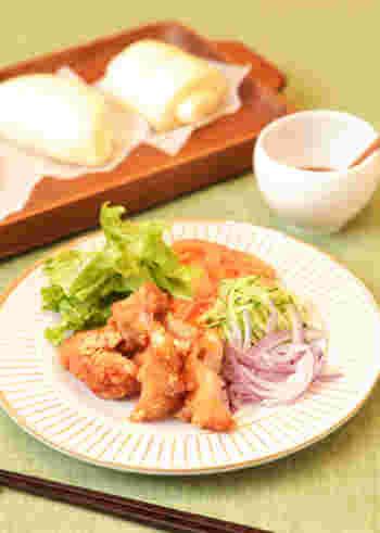 自家製の饅頭(マントゥ)・花巻は、パンのように生地を作りますが、蒸すところが中華流。おもてなしにもぴったりな、素敵なアイデアの献立例ですね。