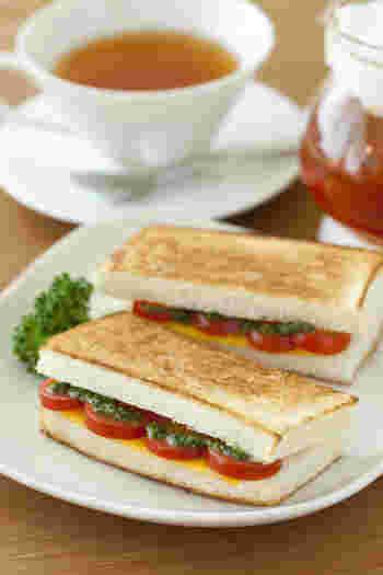 片手で手軽に食べられるサンドイッチがおすすめ。大人用にはトマトとチーズのホットサンドなんていかがですか?バジルソースがスパイスになり、とっても美味しいと人気だとか。