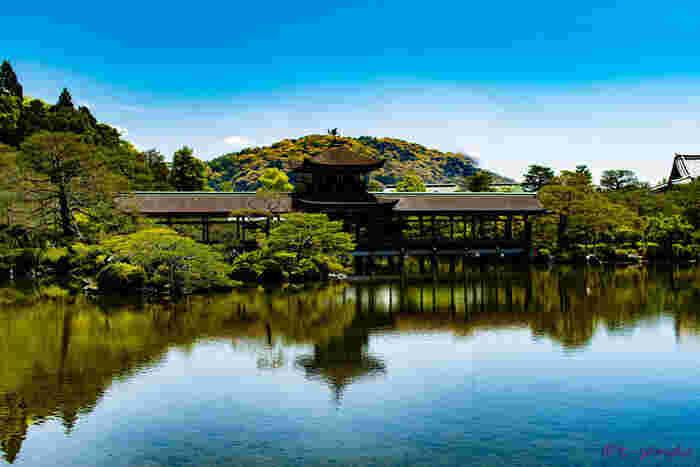 広大な敷地を誇る平安神宮は国の名勝に指定されている美しい日本庭園があります。縁結び・恋愛成就の祈願で参拝した後は、素晴らしい景色が広がる日本庭園に立ち寄ってみるのもおすすめですよ。
