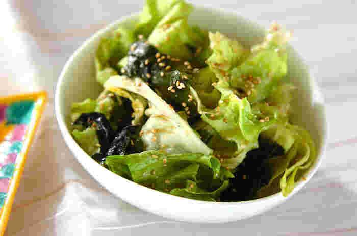 気軽に作れるレタスのサラダ。食べる直前にレタス、ワカメをドレッシングと混ぜ合わせ、器に盛って白ゴマを振れば完成です。
