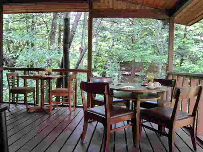 お天気の良い日は、ぜひテラス席へ。木々の緑や鳥のさえずりがBGMです。暑い季節は清々しい緑を、寒い季節は凛と澄んだ空気を感じることができます。