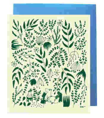 《e.グリーティングワイプカード 目覚めるとジャングル(カード)(グリーン/パステルイエロー)「たのしいムーミン一家」より》  どのキッチンにでも、センス良くおさまる色と絵柄。