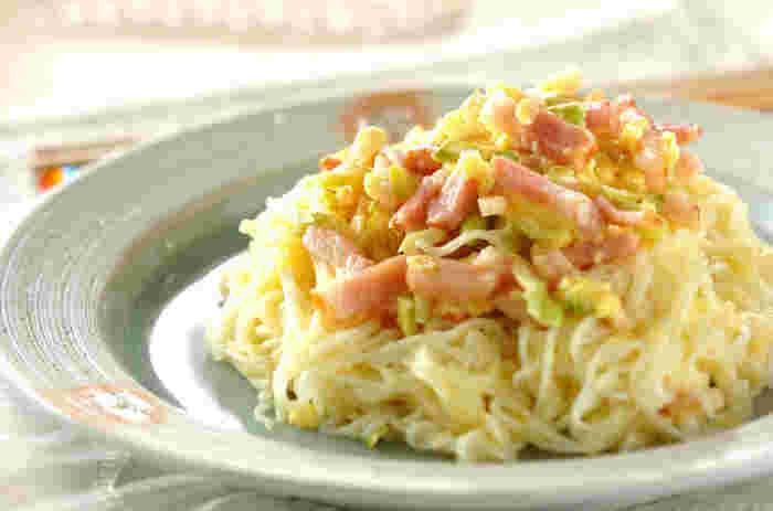 時にはイタリアンな素麺はいかが? 皆が大好きなカルボナーラにアレンジ。「また素麺?」なんて声は聞こえません!