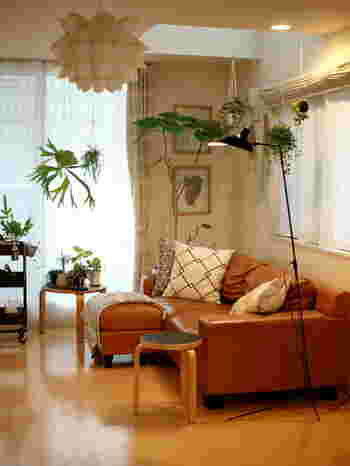 植物の飾り方は、ただ置くだけでなくワイヤーネットを使って吊るしてみたり工夫すると良いでしょう。空間をより広く上手に使うテクニックも真似したいですね。