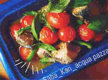 ヘルシーでさっぱりしたアクアパッツァをサバ缶で。このレシピではサバの水煮を使っていますが、ラ・カンティーヌのサバ缶なら上質なオイル使用ですから、しつこさがありません。