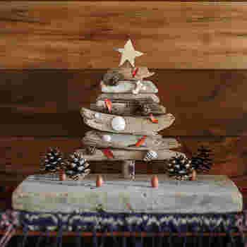 """流木で作ったツリーに貝殻や葉っぱ、松ぼっくりでデコレーション。見ているだけで""""ほっこり""""気分になれる素朴なクリスマスツリー。"""
