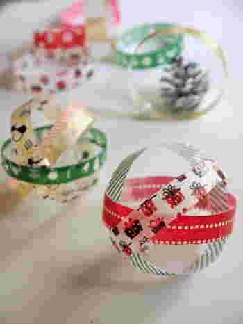 とっても簡単に作れて見た目も大人キュートな、マスキングテープのクリスマスオーナメントは、色々アレンジできるのもポイントです。