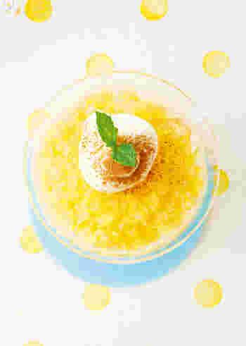 グラニテとは、フランス料理のコースの途中で供されるシャーベット状の氷菓のこと。イタリア領シチリア島のお菓子「グラニータ」をもとにしています。グラニテはフランス語で「ざらざらした」という意味で、同じ氷菓のソルベよりも氷の粒が粗くシャリシャリした食感が特徴です。