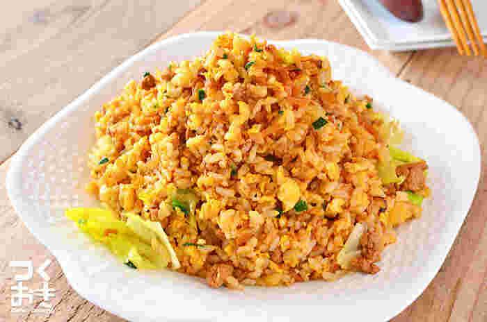 事前に作り置きしておいた肉味噌を使ったチャーハンです。味付けの加減も簡単なので、パパッと作ることができます。