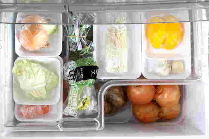 野菜室を開けると、どの野菜がどれくらい余っているかパッと見渡せて、野菜が埋もれることがなく食品ロスが減ります。