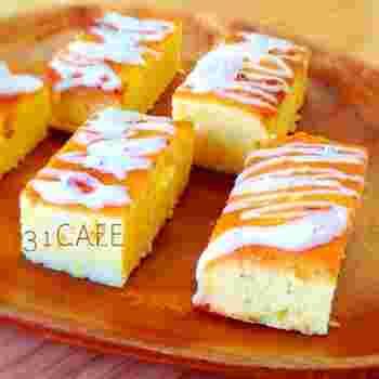 アイシングにレモンと牛乳を加えてまろやかな味わいにしたウィークエンドシトロンです。アラザンをパラパラと飾って、見た目にもおしゃれですね。