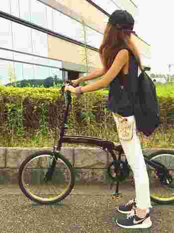 スポーティーな自転車スタイル。時には彼氏と自転車デートも良いですね♪
