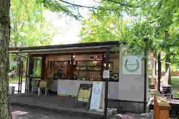 まるで山小屋のような小さな佇まいの「ハンモックカフェ」。サンドイッチやドリンクなどの軽食を販売しています。お店の名前の通り、ハンモックにゆらゆらと揺られリラックスしながら、くつろぎのひと時を過ごすことができます。