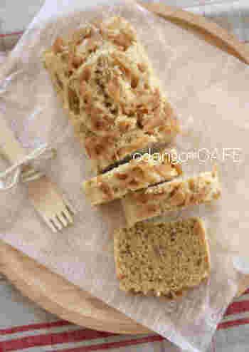しょうがのはちみつ漬けなど、おうちに常備している方も多いのではないでしょうか?こちらは、ジンジャーシロップを使用したしょうが風味の蒸しパウンドケーキ。漬かったしょうがを刻んで加えることで、ピリッと大人の味わいです。