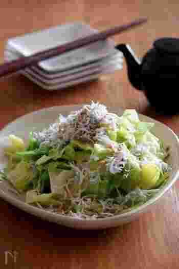 ■塩茹でキャベツのたっぷりしらすのせ ホイル焼き、豆腐のあんかけに合わせたい副菜が「塩茹でキャベツのたっぷりしらすのせ」です。キャベツのビタミンCとしらすのカルシウムをプラス。とても良い箸休めになりますね。