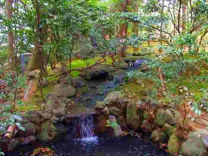 庭園は苔むしていて、小さな滝もあります。建物内から眺めるだけでなく散策も楽しめますよ。