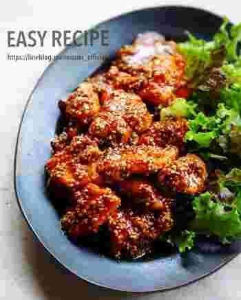 お肉が焼けたら合わせ調味料をかけるだけの簡単レシピ!ごまの風味はお弁当にもぴったり。お肉を削ぎ切りにすることが時短のポイントです。