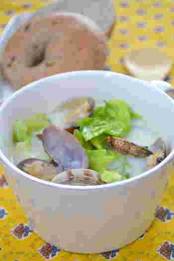 煮込みに最適な冬キャベツを使って、「冬キャベツのクラムチャウダー」を。ブイヨンなどを使わずに、ベーコンと野菜でスープにコクをだします。