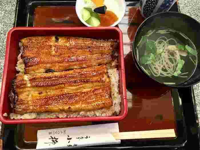 うな重は「松」と「竹」の2種類。こちらは「松」で、食べごたえのあるうなぎにあっさりしたタレが良く合います。濃いめのタレがあまり得意ではない、という方にも人気です。