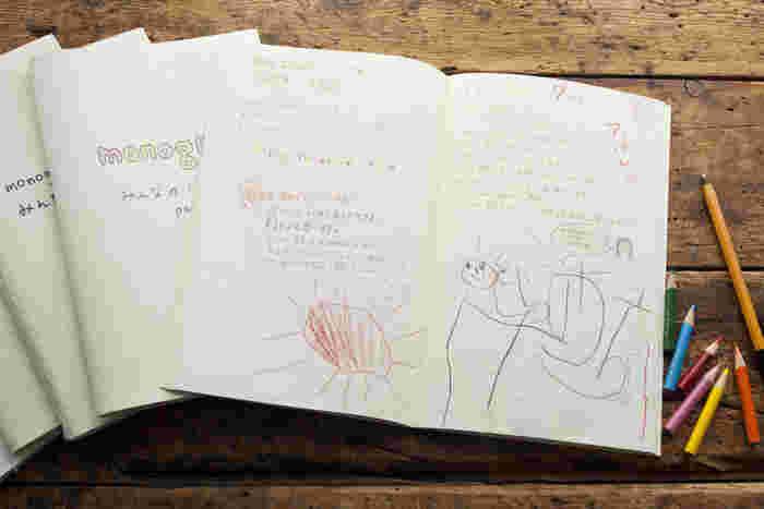 訪れた人達が自由に書き込める「みんなのノート」は既に5冊目。monogramが多くの人に愛されていることがよく分かる。