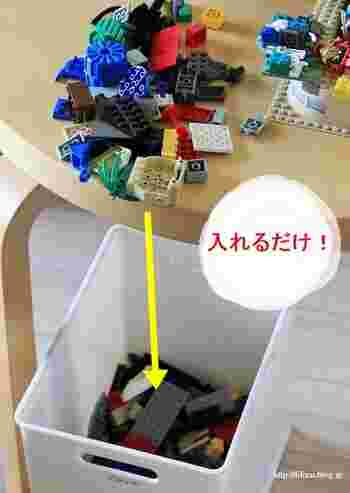 リビングに丈夫なボックスを置いてあると、おもちゃを使った後小さいお子さんでも簡単に片付けられますね。 後は元にあったラックに戻すだけで済みます。