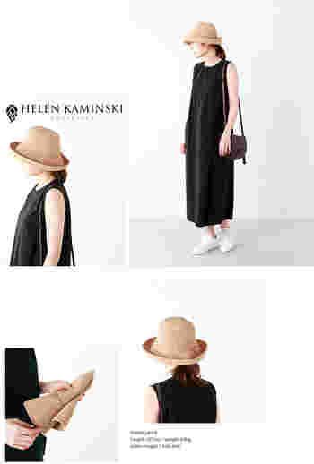 シンプルかつエレガントなヘッドウェアで定評のあるオーストラリアのブランド「HELEN KAMINSKI(ヘレンカミンスキー)」。上質なラフィア素材を熟練の職人が丁寧に編みこんだ帽子は、さりげないけれど普遍的な美しさを保っています。くるっと折りたたんでも型崩れすることないので、安心です。