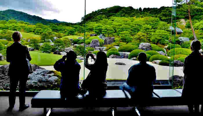 一般的に庭園鑑賞は園内を回遊しますが、ここでは美術館内をめぐり歩きながら、室内から庭を鑑賞します。