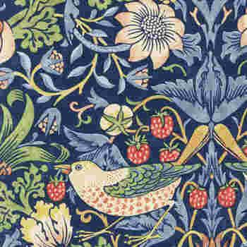 とぼけた野鳥の表情がおかしみを感じさせるフィリップ・モリスのロングセラー「いちご泥棒」(1883年)。絵柄を生かしてクッションやブックカバー、何を作ろう♪