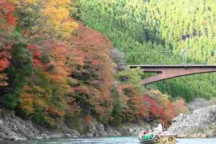 美しい保津峡の紅葉と共に魅力的なのが、船頭さんとの会話。器用に舟を操りつつ、ガイドさんのように見所の解説をしてくれます。