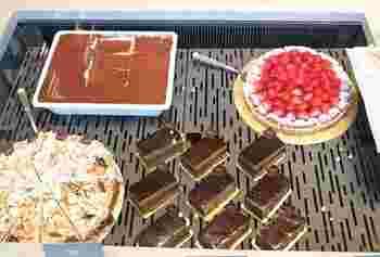 画像上左から時計回りに『ティラミス』、いちごのタルト『クロスタータ フラーゴラ』、チョコレートのムース&クリーム、カカオビスキュイとピスタチオペーストが層になった『クレモーザアルピスタチオ』、レモンクリーム、スポンジ、生クリームが立ち現れる『デリッツィア アル リモーネ』…スイーツも充実♪