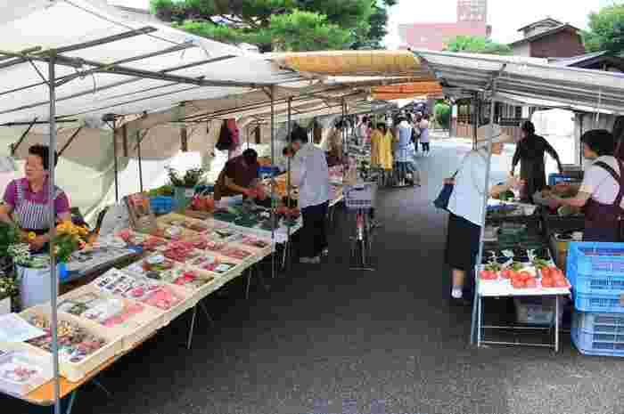 漬物や、お花、野菜だけではなく、手づくりのさるぼぼ人形なども売っています。
