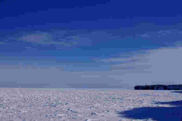 冬になると、オホーツク海から流れ着いた流氷が、能取湖を一面に覆います。抜けるような青空の下、果てしなく広がる流氷原を眺めていると、北国の冬の厳しさだけでなく、大自然の畏怖さえも感じ取ることができます。