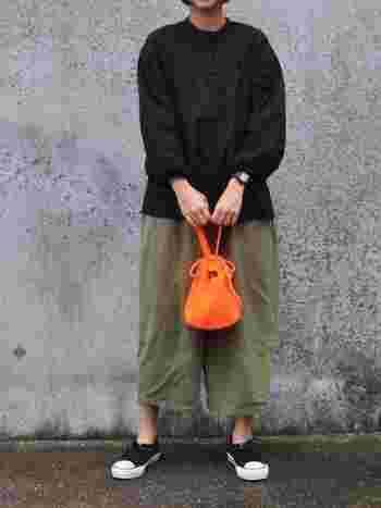 タックが細かく入った立体感あるシャツ。カラーは黒だけど、デザインが女性らしいので優しい雰囲気。バルーンパンツを合わせてコケットにまとめたところも可愛らしいですね。